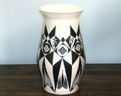 Black & White Hand Painted Artisan Vase - Free Shipping