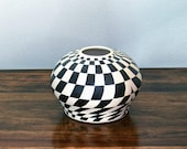 Black & White Hand Painted Artisan Bowl - geometric design