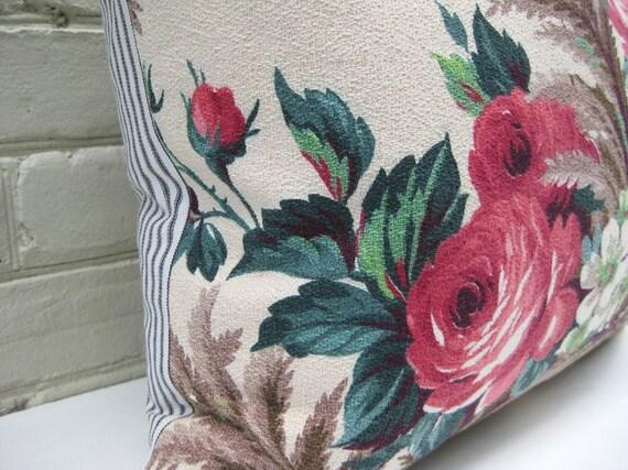 Pillow Cover Barkcloth Roses Ferns Dogwood Ticking Stripes