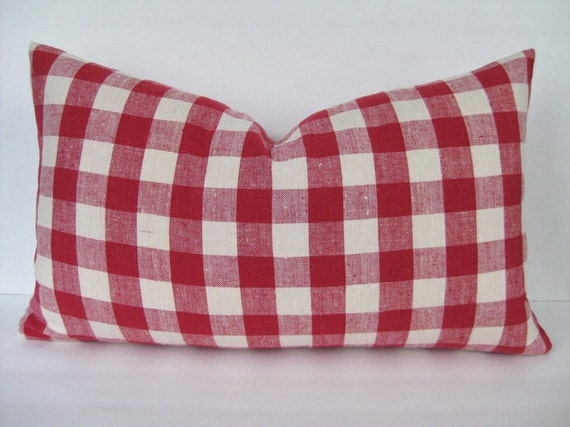 Linen Pillow Cover Woven Red Ivory Check 12 x 20 Last One