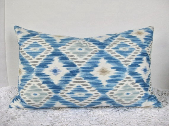 Pillow Cover Blue IKAT 16 x 24 Double Sided