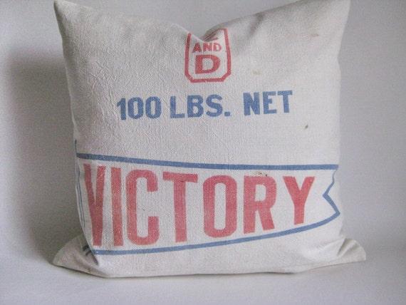 Pillow Cover Victory Sugar Bag Rustic Farmhouse