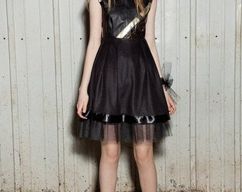 mixed leather babydoll party dress