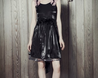 Black Party Dress with Feather Belt