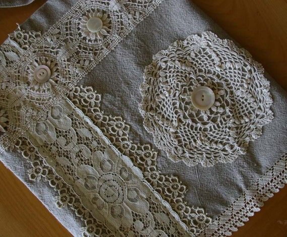 Fab OOAK Handmade Linen Shoulder Bag with Vintage Lace Trim