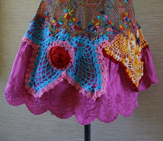 RESERVED for Ana Cantero On sale Crazy Colorful Vintage Doily OOAK Dress