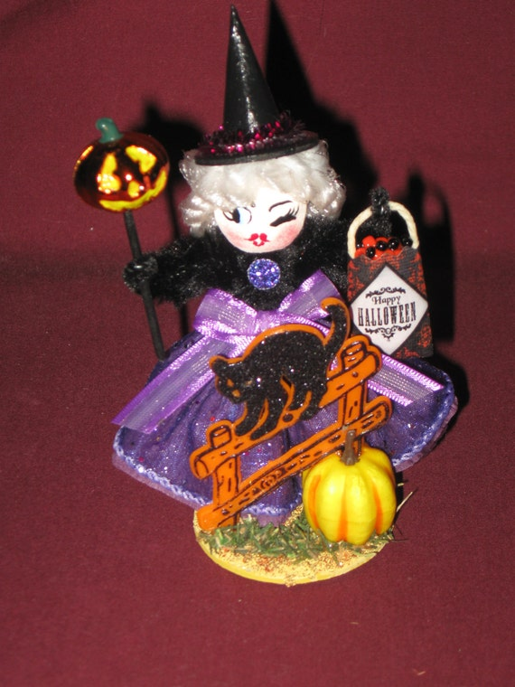Vintage Style Halloween German Cotton Watte and Chenille Novelty Decoration Little WITCH with Black Cat on Fence Pumpkin Stick and Treat Bag