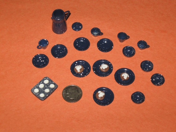 Dollhouse Miniature Blue Spatterware Coffee Pot with Cups, Saucers Bowls Muffin Pan and Cinnamon Rolls Set 23 pieces