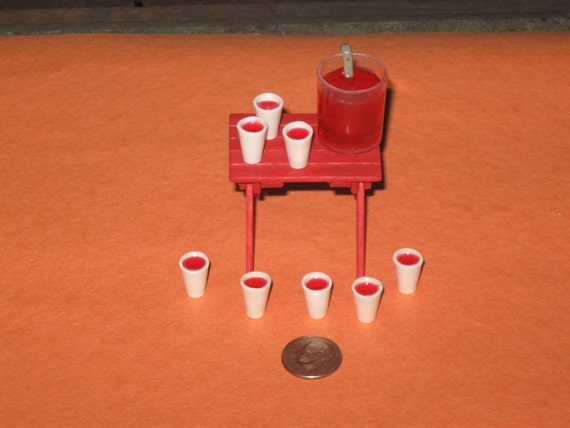 Dollhouse Miniature Summertime TABLE with KOOL-AID Bucket and Cups