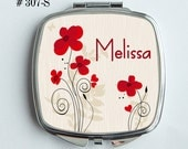 Personalized  Mirrored Compact - Whimsical brick red flowers with swirly black stems - Great Bridal party gift Idea