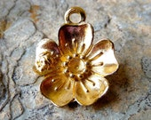 6 Small Flower Charms Dangles Pendants  -  20mm - Gold Plated