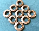 3 Copper Circle Beads - 22mm -  Etched,  Heavy,  LEAD FREE Pewter -  Drilled Holes