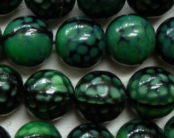 Vintage West German Dimple Beads - Molded Green and Black Glass  - 10mm - Gorgeous Old Beads - Qty 10 pcs