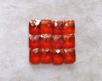 3 Orange Cubic Zirconia 2 Hole  Beads - 8x10x4mm -  Multi Strand Faceted Rectangle