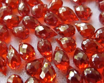 Dark Orange Cubic Zirconia Briolette Beads, 4x6mm -  Small Gorgeous Sparkling Beads - Qty 5 pcs