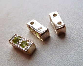 Peridot Gemstone Sterling Silver 2 Hole Spacer Bar Separators - 9x4x4mm - Sparkling Rectangle Spacer Bars - Qty 2 pcs (1 pair)