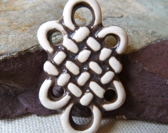 Large Eternal Knot, Endless Knot, Infinity Symbol Ceramic Connector Link Dangle Pendant  -  42x26mm