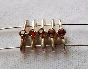 Red Garnet Gemstone Sterling Silver Spacer Bar Separators - 10x4x2mm - Tiny Prong Set Garnet 2 Hole Spacer Bars - Qty 3 pcs