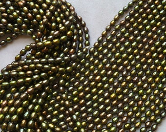 Dark Green Peacock Rice Pearls - 4.5mm-5mm - Forest Green, Brown Hues  -  Fine Quality (fwpfg1)