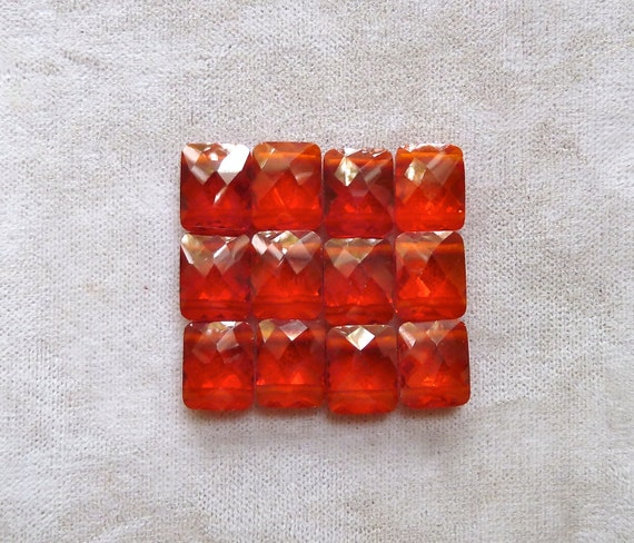 Orange Cubic Zirconia 2 Hole Beads - 8x10x4mm - Multi Strand Faceted Rectangle - Qty 3 pcs