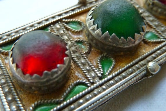 Moroccan Berber Amulet Pendant -, Enamel, Glass - Authentic - SPECIAL PRICE