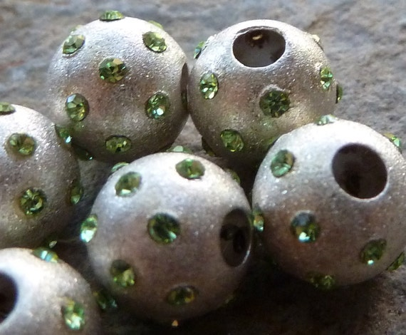 Sterling Silver Peridot Crystal Bead - 8mm - Lots of Sparkle