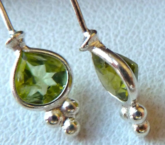 Sterling Silver GEMSTONE HEADPINS - 3 Inches with Faceted Pear Shape PERIDOT  - 22 gauge - Qty 2 Pcs