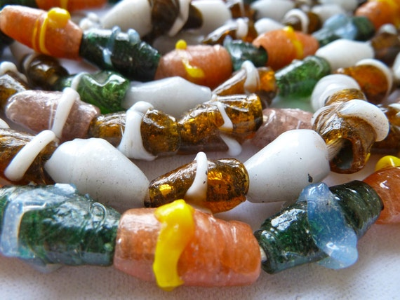 Long Strand African Glass Beads - 12x9mm to 18x10mm - Coloful Wound Glass - Nigerian Bida Beads