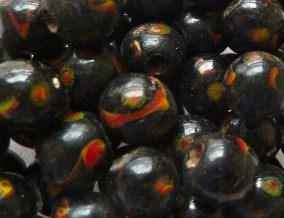 RESERVED for xiz2 - 5 Black Peking Glass Beads - Red & Yellow Dragon Eyes - 9mm and 2 Wood Beads with Silver Inlay - 22mm
