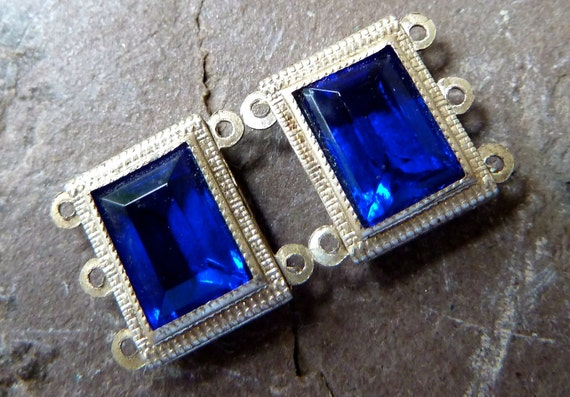 Vintage Blue Glass & Metal Connector Links - 11mm -  Deep Royal Blue Glass Jewel set in Antique Silver Metal - Qty 3 Pair / 6 Pcs