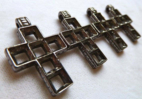 Religious Cross Pendant with Multi Stone Settings  - 32mm - High Quality Vintage Black Metal Casting - Qty 1