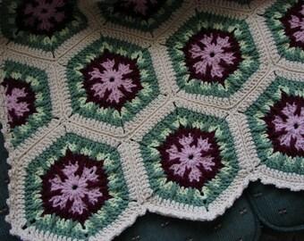 Handmade Crochet Antique Rose Kaleidoscope Afghan 48 x 68