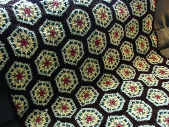 Handmade Crochet Country Sunrise Kaleidoscope Afghan With Dark Brown (Expresso) Edging FREE SHIPPING 48 x 68