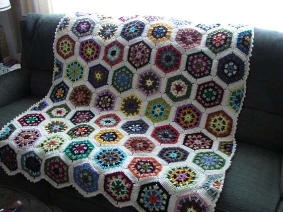 Handmade Crochet Aran (Winter White) Edged Multi-Colored Kaleidoscope Afghan 48 x 68 FREE SHIPPING
