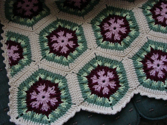 Handmade Crochet Antique Rose Kaleidoscope Afghan 48 68