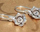 Rose Earrings Fine Silver