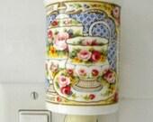 English Breakfast Pattern on Bone China Mug Made Into Pretty Nightlight
