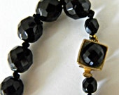 Vintage 1940's  Beautifully Faceted Jet Black Glass Bead Necklace 22 Inches Long