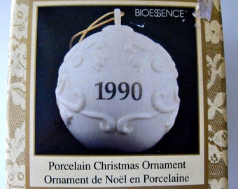 Vintage White Porcelain Christmas Ornament by DuCair Bioessence, In Box 1990 -  White Christmas Ornament - White Christmas Tree Decoration