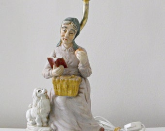 1970's Porcelain Table Lamp, French Peasant Woman and Her Poodle - French Country Decor - Collectable - Cottage Chic - Figurine Lamp