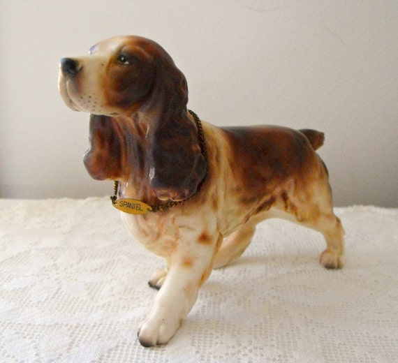 Vintage Porcelain Springer Spaniel Figurine Made In Japan