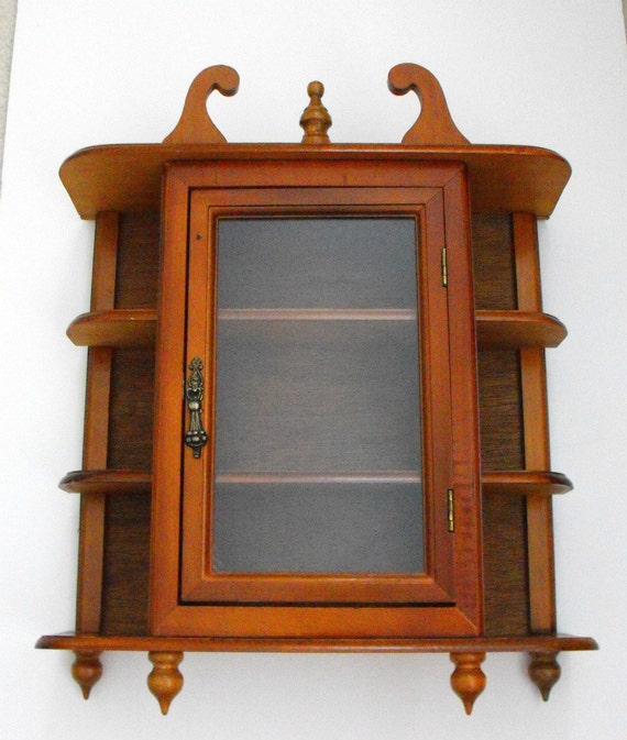Free Standing Kitchen Cabinets With Glass Doors: Vintage Glass Door Curio Cabinet Free Standing Or Wall Mount