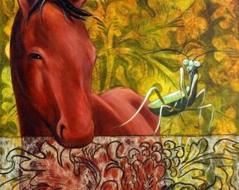 Red Horse & Praying Mantis - Fine Art Print- Horse Art - Praying Mantis Art -11x14 Matted Print