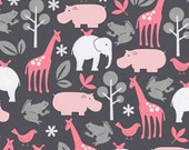 Jungle Animal Fabric, Zoology Flannel in Bloom For Michael Miller, 1 Yard