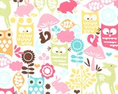 Bright Owl Flannel, Forest Life for Michael Miller in Watermelon, 1 Yard