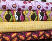 Bright Floral Geometric Fabric, Lola's Posies By Lila Tueller for Riley Blake, Half Yard Bundle, 4 Prints, 2 Yards Total