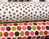 Cream Brown and Pink Floral Flannel Blanket Bundle, 2 Yards