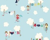 Blue and Red Girly Dress Up Fabric, Dress Up Days For Riley Blake, Main Print in Blue, 1 Yard