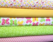Pink Green and Yellow Butterfly and Flower Fabric, 1 Yard Bundle, 5 Prints, 5 Yards Total