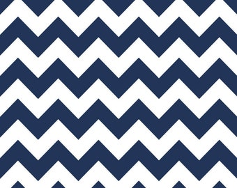 Navy and White Chevron Cotton for Riley Blake, 1 Yard